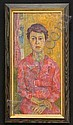 JOSEPH SOLMAN (b. 1909), WOMAN IN RED Tempera on c, Joseph Solman, Click for value