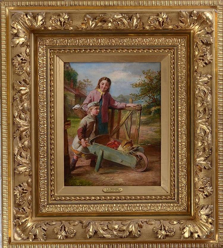 Johannes S. Oertel (German/American, 1823-1909): Two Children with Cart