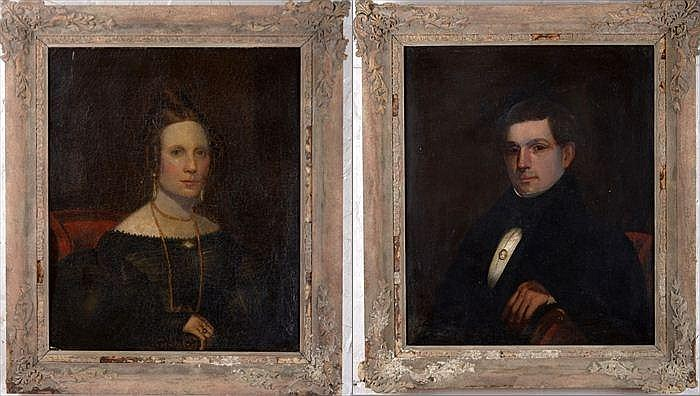 Charles L. Fenton (American, 1808-1877): Pair of Portraits of a Husband and Wife