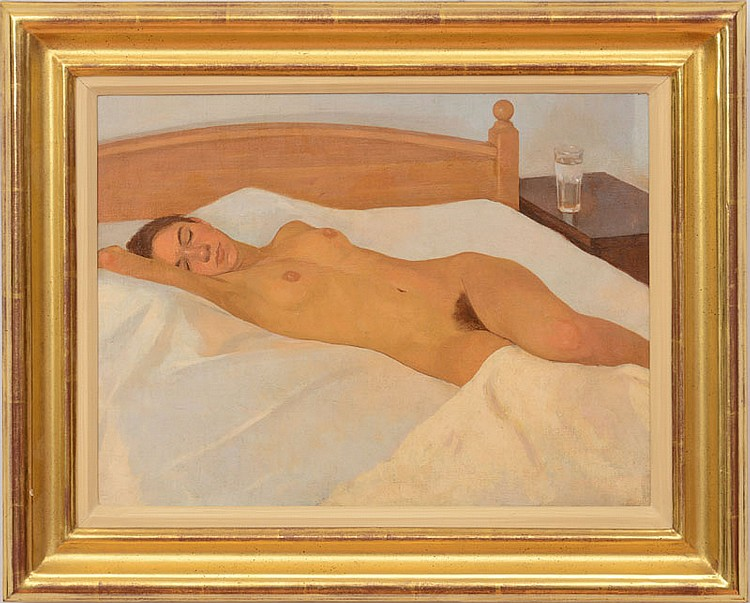 Neale Worley (b. 1962): Reclining Nude in Bed