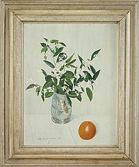 Jane Pickens Langley (1908-1992): Floral Still Life with an Orange