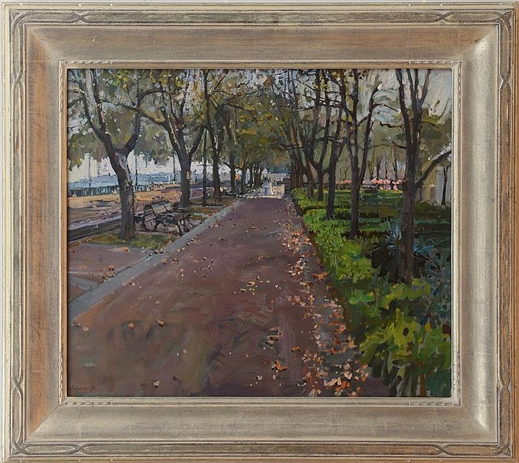 DAVID AKHRIEV (b. 1959): PATH AT WATERFRONT PARK
