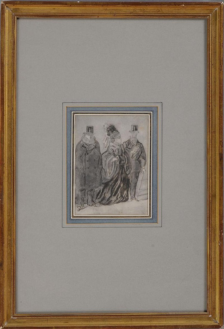 ATTRIBUTED TO CONSTANTIN GUYS (1802-1892): TWO GENTLEMEN AND A LADY