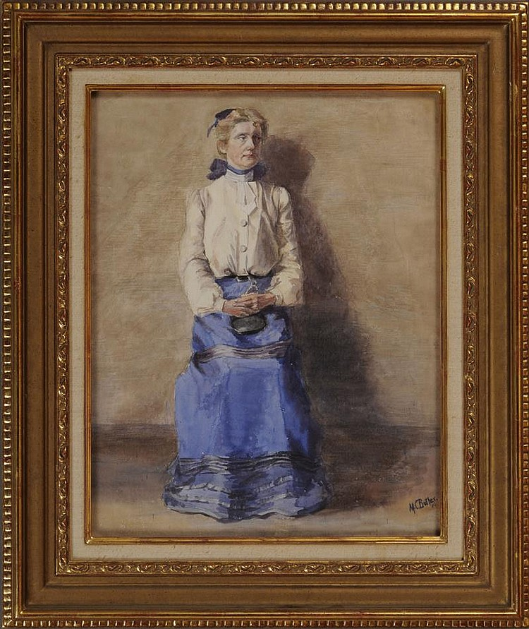MARY BUTLER (1865-1946): SEATED WOMAN IN BLUE SKIRT