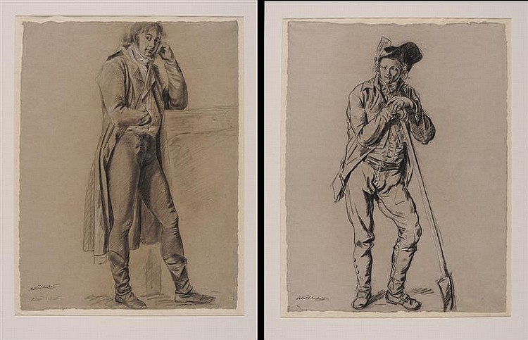 PHILIBERT D'AMIENS DE RANCHICOURT (1781-1825): STANDING MAN LEANING ON SPADE AND STANDING A MAN