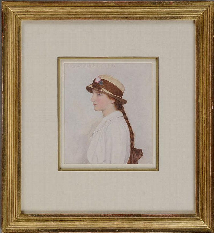 GEORGE LAWRENCE BULLEID (1858-1933): STUDY OF A YOUNG GIRL IN STRAW HAT