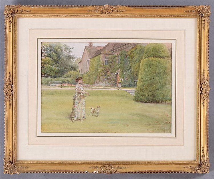 GEORGE G. KILBURNE (1839-1924): A LADY AND HER TERRIER STROLLING ON THE LAWN