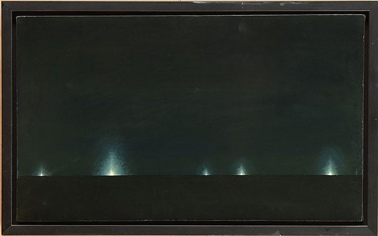 STEPHEN HANNOCK (b. 1951): UNTITLED (SHRIMP BOATS AT NIGHT)