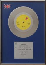 ROLLING STONES GOLD RECORD AWARD, BPI AWARD PRESENTED TO EARL MCGRATH FOR THE ROLLING STONES SINGLE MISS YOU, 1978