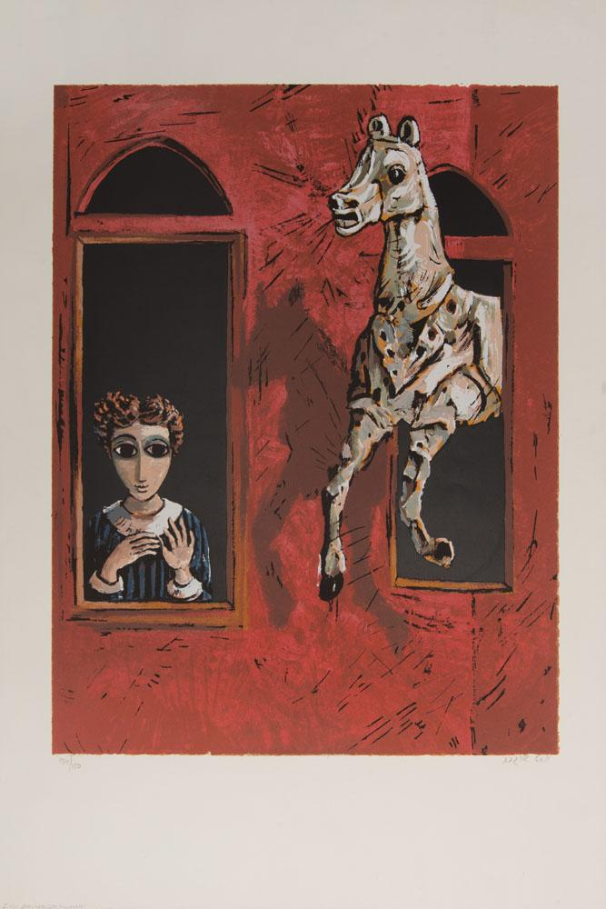 Yosel Bergner (b. 1920): Lady and a Horse