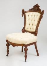 Renaissance Revival Walnut Side Chair, John Jelliff, Newark, NJ