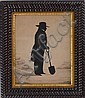 Augustin Edouart (1789-1861): Cut-Out Silhouette Portrait of a Gentleman with Spade, Augustin-Amant-Constant-Fidèle Edouart, Click for value