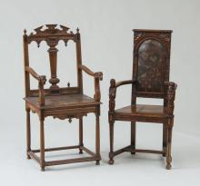 TWO RARE FRENCH RENAISSANCE CARVED WALNUT ARMCHAIRS