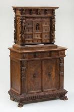 ITALIAN CARVED WALNUT CREDENZA WITH SUPERSTRUCTURE