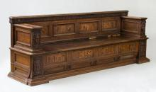 RARE ITALIAN WALNUT AND FRUITWOOD MARQUETRY CASSONE, SEDILE, TUSCAN