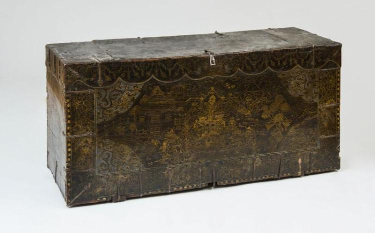KOREAN METAL-MOUNTED PAINTED LACQUER AND PARCEL-GILT TRUNK