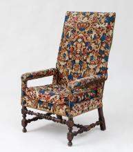 TWO SIMILAR FLEMISH BAROQUE STAINED WALNUT TALL BACK ARMCHAIRS