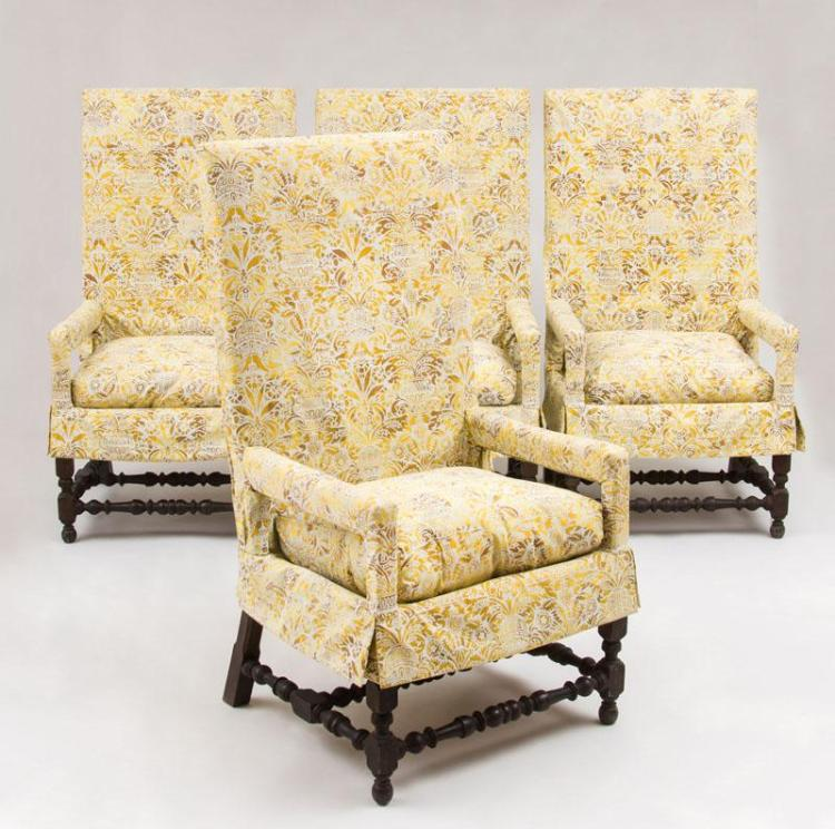 SET OF FOUR FLEMISH BAROQUE STYLE STAINED WALNUT TALL-BACK ARMCHAIRS