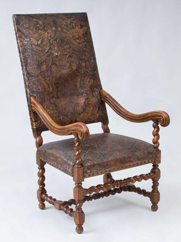SPANISH BAROQUE STYLE CARVED OAK TALL BACK ARMCHAIR