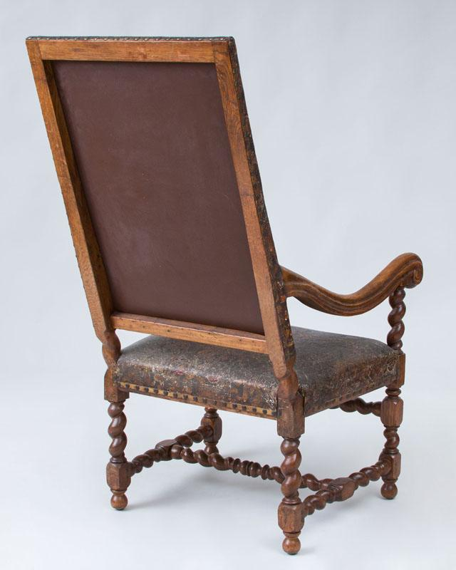 Spanish baroque style carved oak tall back armchair for Spanish baroque furniture