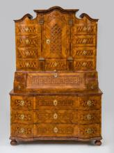 SOUTH GERMAN BAROQUE GILT-BRONZE-MOUNTED WALNUT, KINGWOOD AND EBONY PARQUETRY SECRÉTAIRE