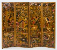 DUTCH PAINTED AND PARCEL-GILT FOUR-PANEL LEATHER SCREEN