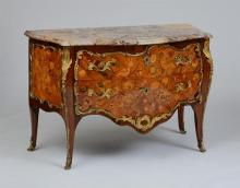 LOUIS XV ORMOLU-MOUNTED KINGWOOD, TULIPWOOD AND FRUITWOOD MARQUETRY COMMODE, STAMPED PIERRE ROUSSEL MAÎTRE IN 1745