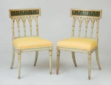 PAIR OF ITALIAN NEOCLASSICAL PAINTED AND PARCEL-GILT SIDE CHAIRS