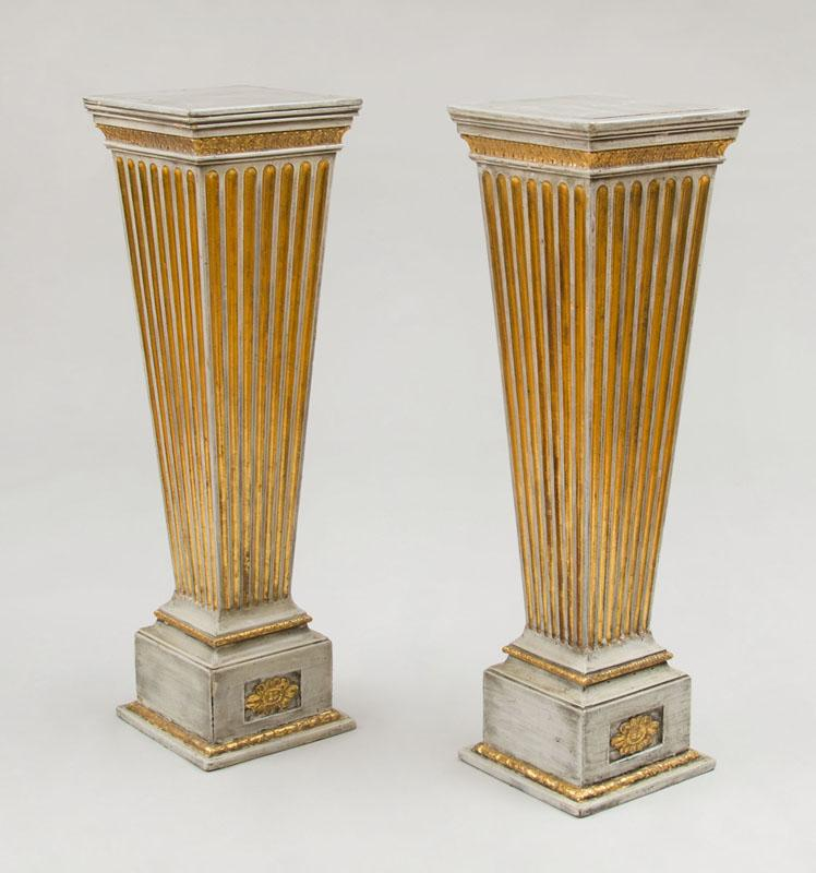 PAIR OF LOUIS XVI STYLE GREY PAINTED AND PARCEL-GILT PEDESTALS