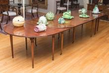 LARGE LOUIS XVI STYLE MAHOGANY EXTENSION DINING TABLE