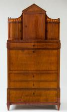 DANISH NEOCLASSICAL MAHOGANY AND FRUITWOOD MARQUETRY SECRETAIRE À ABATTANT
