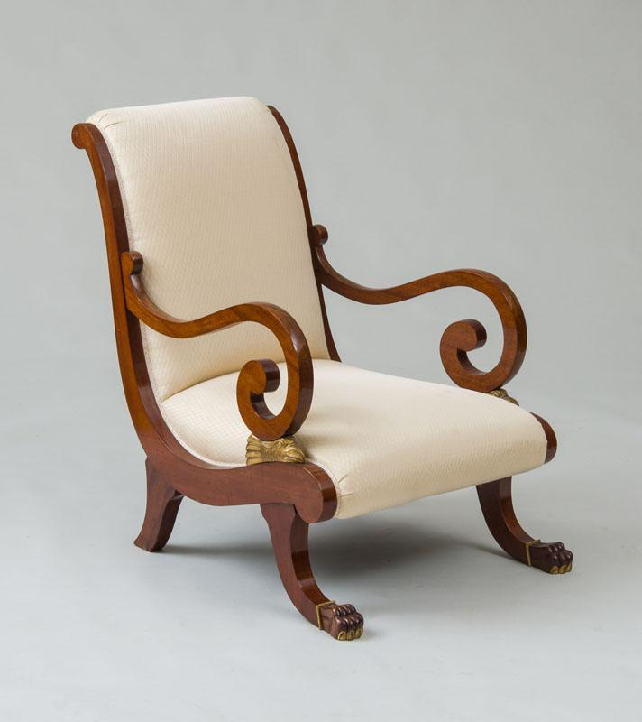 ITALIAN NEOCLASSICAL MAHOGANY AND PARCEL-GILT ARMCHAIR