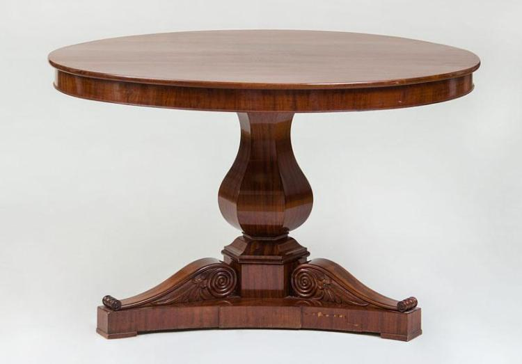 DANISH NEOCLASSICAL CARVED MAHOGANY CENTER TABLE