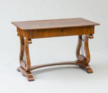 BIEDERMEIER BLACK WALNUT AND EBONIZED WRITING TABLE