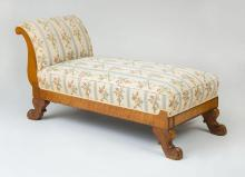 BIEDERMEIER BIRD''S EYE MAPLE AND MAHOGANY CHAISE LOUNGE