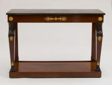 EMPIRE ORMOLU-MOUNTED MAHOGANY AND EBONIZED CONSOLE TABLE