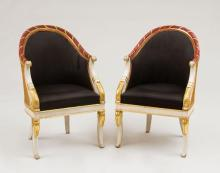PAIR OF EMPIRE CREAM AND IRON-RED PAINTED AND PARCEL-GILT TUB CHAIRS
