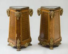 PAIR OF LOUIS XVI STYLE ORMOLU-MOUNTED KINGWOOD AND TULIPWOOD PEDESTALS
