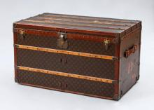 LOUIS VUITTON BRASS, LEATHER AND WOOD-MOUNTED TRUNK