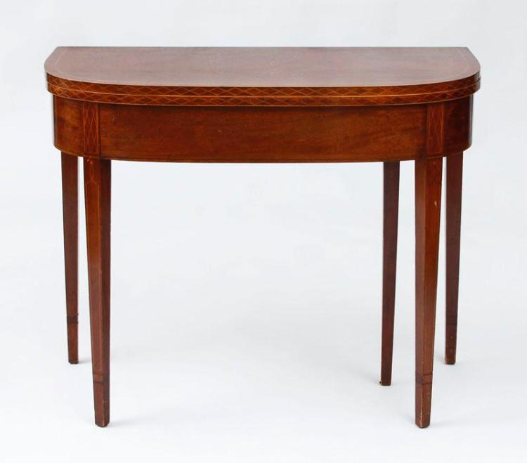 GEORGE III INLAID MAHOGANY CARD TABLE
