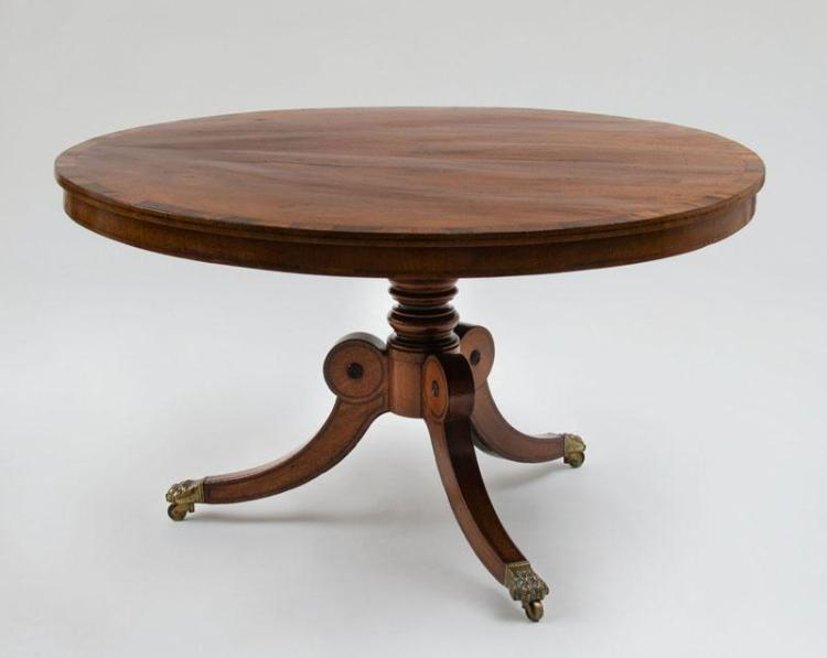 EARLY REGENCY INLAID MAHOGANY TILT-TOP CENTER TABLE