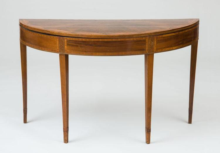 LARGE GEORGE III INLAID MAHOGANY DEMILUNE CARD TABLE