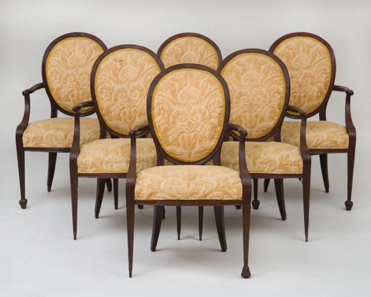 SET OF SIX GEORGE III STYLE CARVED MAHOGANY DINING CHAIRS