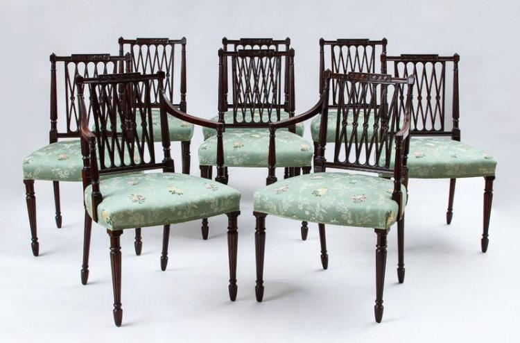 SET OF EIGHT GEORGE III CARVED MAHOGANY DINING CHAIRS