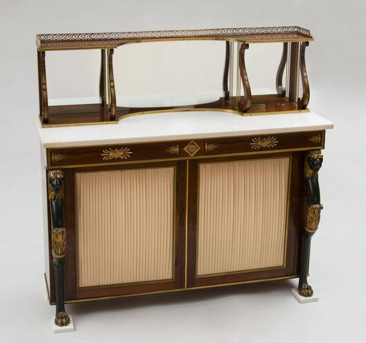 REGENCY STYLE GILT-METAL-MOUNTED ROSEWOOD CHIFFONIER