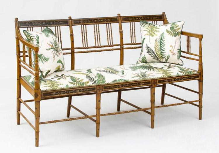 REGENCY FAUX BAMBOO PAINTED SETTEE