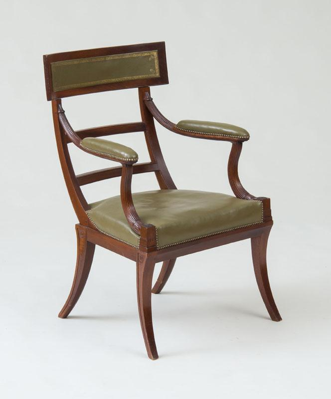REGENCY STYLE CARVED MAHOGANY ARMCHAIR, DESIGNED BY MRS. MACDOUGAL, 20TH CENTURY