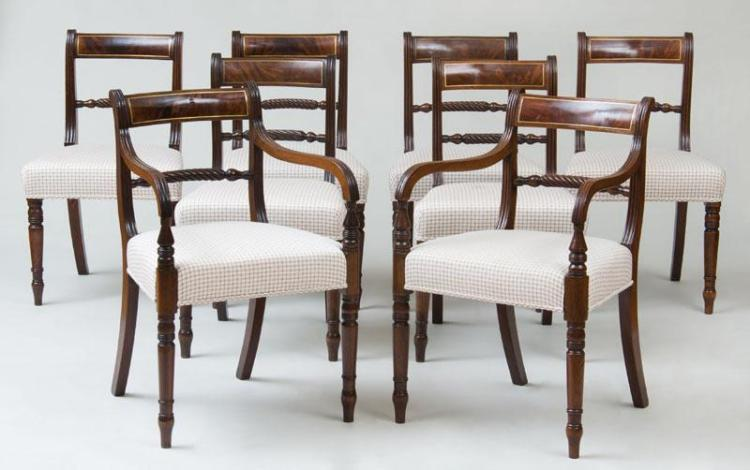 SET OF EIGHT REGENCY BRASS INLAID MAHOGANY DINING CHAIRS