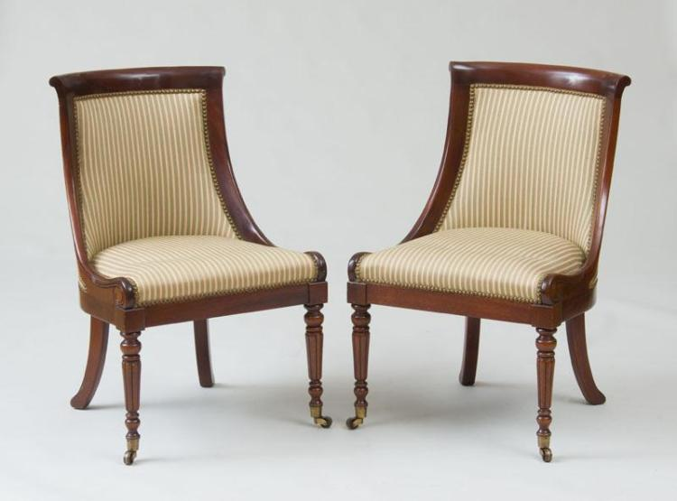 PAIR OF WILLIAM IV STYLE CARVED MAHOGANY SIDE CHAIRS