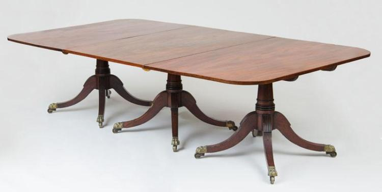 GEORGE IV MAHOGANY THREE-PEDESTAL DINING TABLE